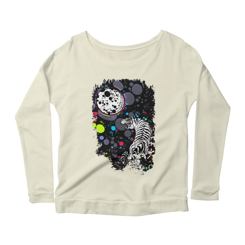 The Moon And The White Tiger Women's Longsleeve Scoopneck  by expo's Artist Shop