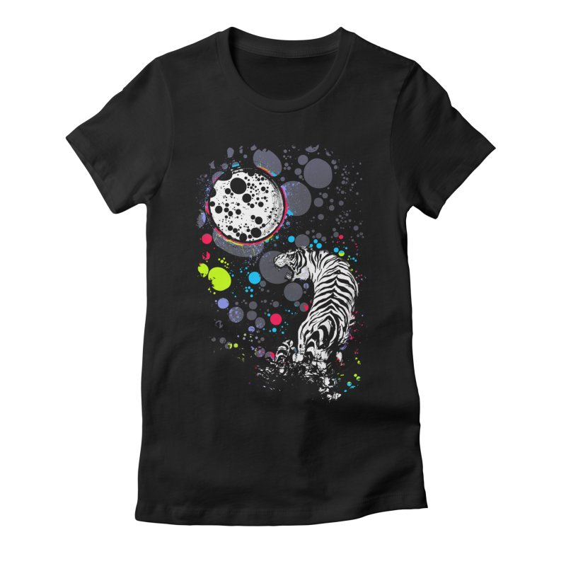 The Moon And The White Tiger Women's Fitted T-Shirt by expo's Artist Shop