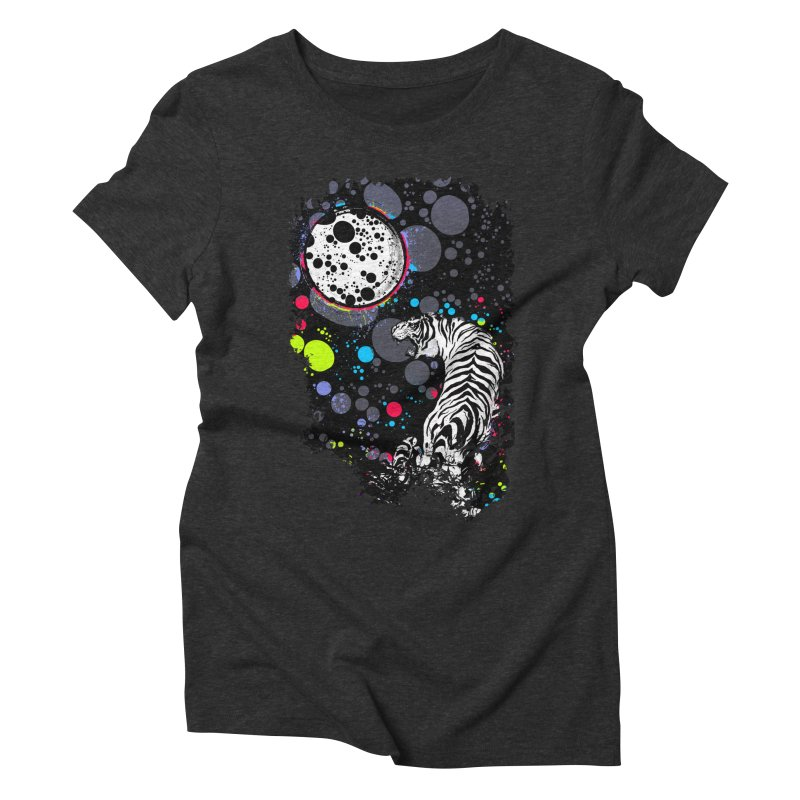The Moon And The White Tiger Women's Triblend T-Shirt by expo's Artist Shop
