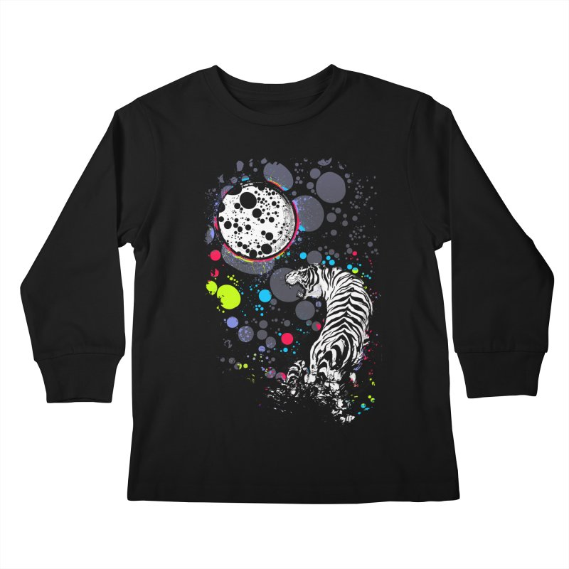 The Moon And The White Tiger Kids Longsleeve T-Shirt by expo's Artist Shop