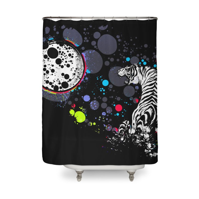 The Moon And The White Tiger Home Shower Curtain by expo's Artist Shop