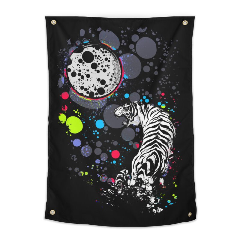 The Moon And The White Tiger Home Tapestry by expo's Artist Shop
