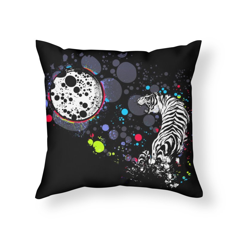 The Moon And The White Tiger Home Throw Pillow by expo's Artist Shop