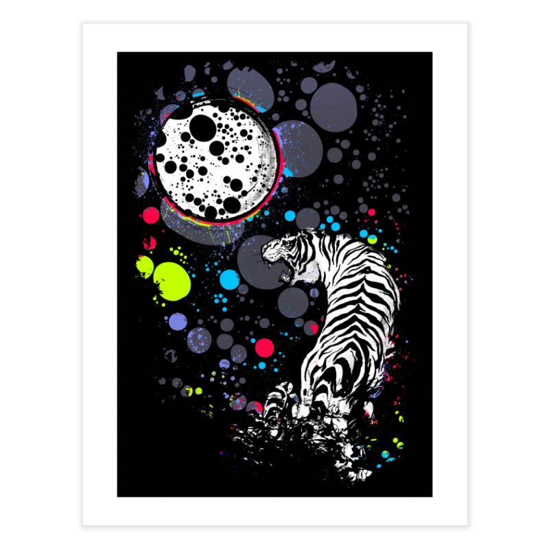 The Moon And The White Tiger Home Fine Art Print by expo's Artist Shop