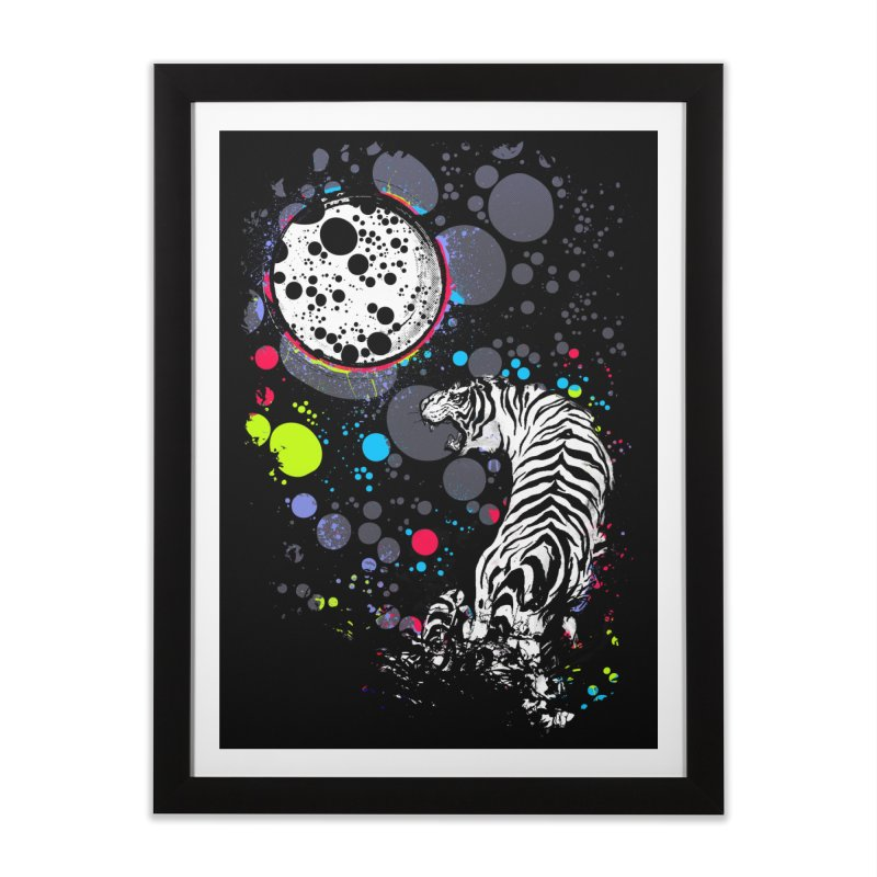 The Moon And The White Tiger Home Framed Fine Art Print by expo's Artist Shop