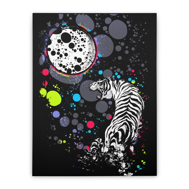 The Moon And The White Tiger Home Stretched Canvas by expo's Artist Shop