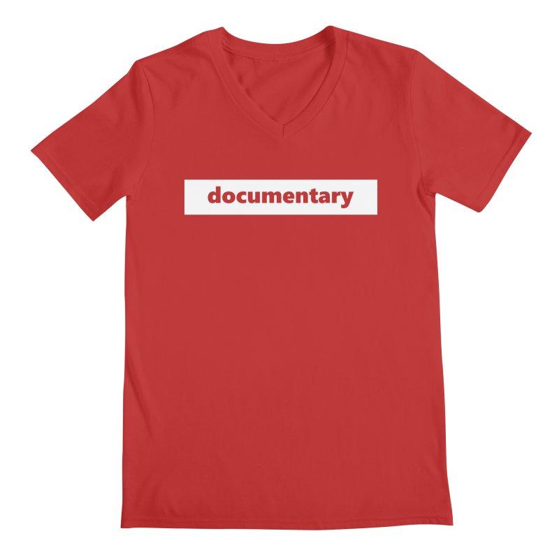 documentary     logo     white Men's Regular V-Neck by