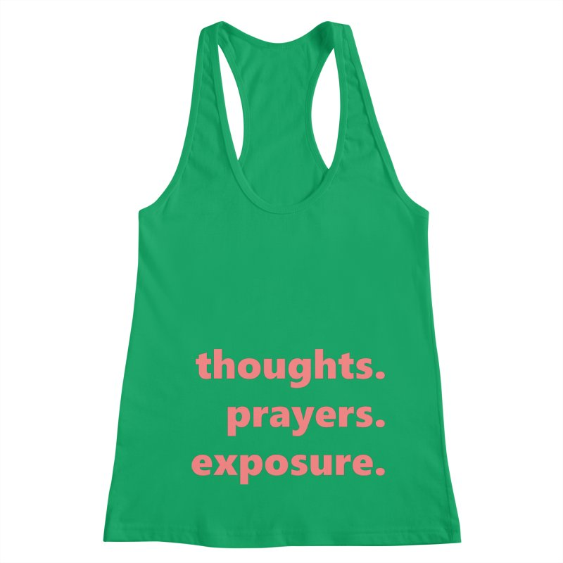 thoughts prayers exposure  |  text  |  light Women's Racerback Tank by Extreme Toast's Artist Shop