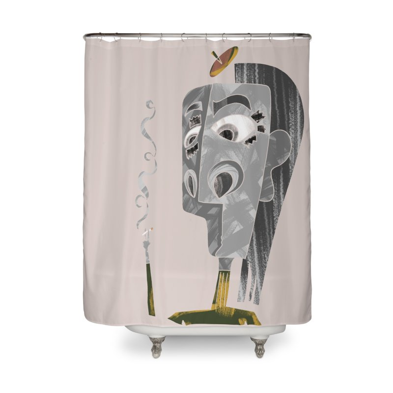 Unwinding in the Afterlife Home Shower Curtain by Eyeball Girl Creative