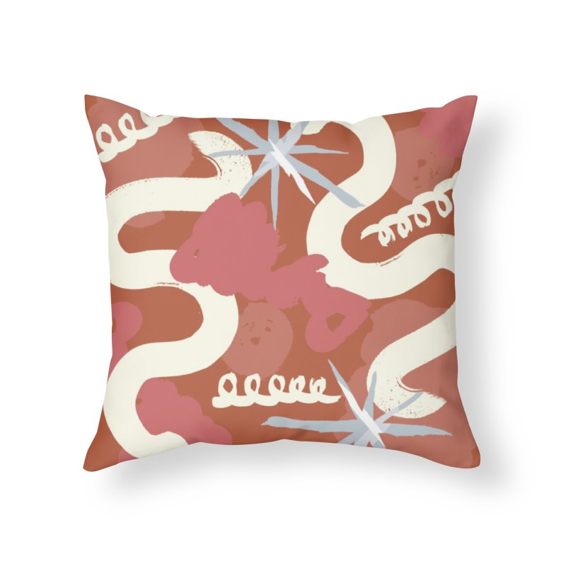 Orange Abstract Home Throw Pillow by Eyeball Girl Creative