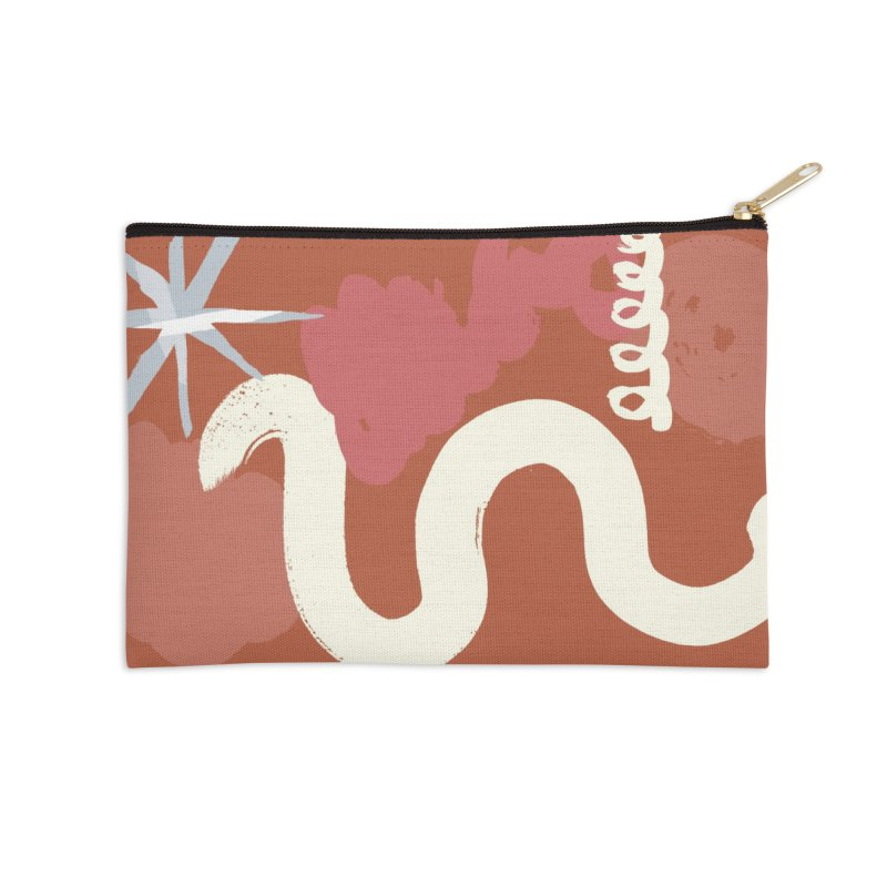 Orange Abstract Accessories Zip Pouch by Eyeball Girl Creative