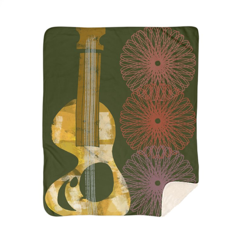 Guitar and a Spirograph Home Sherpa Blanket Blanket by Eyeball Girl Creative