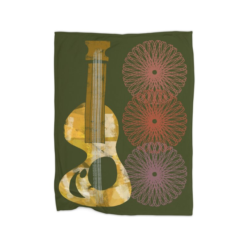 Guitar and a Spirograph Home Fleece Blanket Blanket by Eyeball Girl Creative