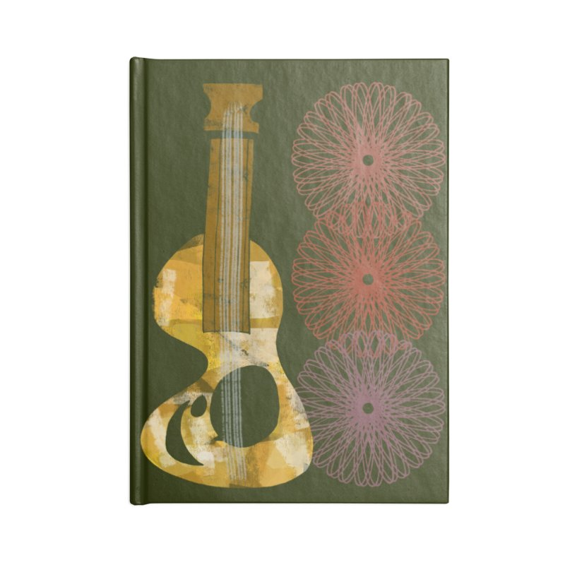 Guitar and a Spirograph Accessories Blank Journal Notebook by Eyeball Girl Creative
