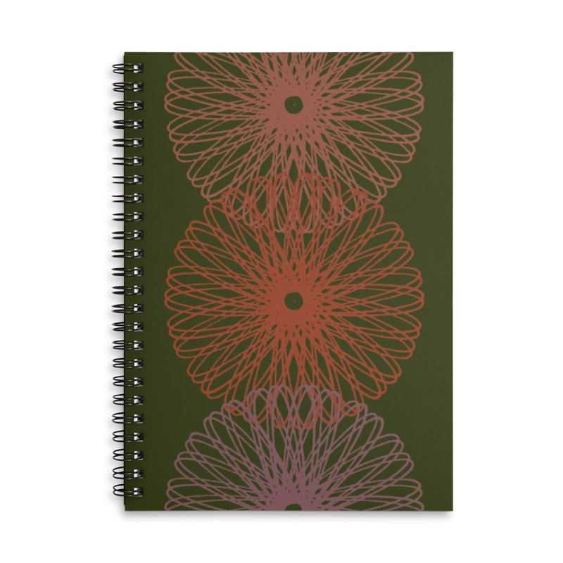 Guitar and a Spirograph Accessories Lined Spiral Notebook by Eyeball Girl Creative