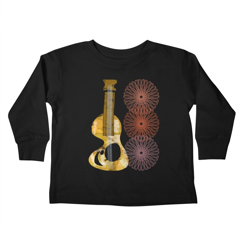 Guitar and a Spirograph Kids Toddler Longsleeve T-Shirt by Eyeball Girl Creative