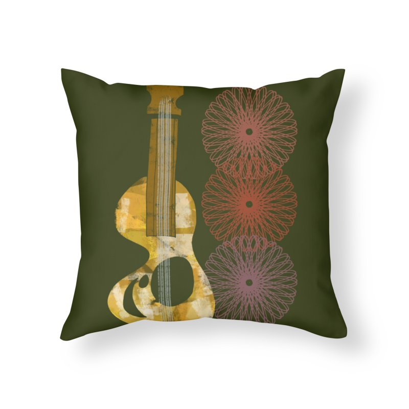 Guitar and a Spirograph Home Throw Pillow by Eyeball Girl Creative
