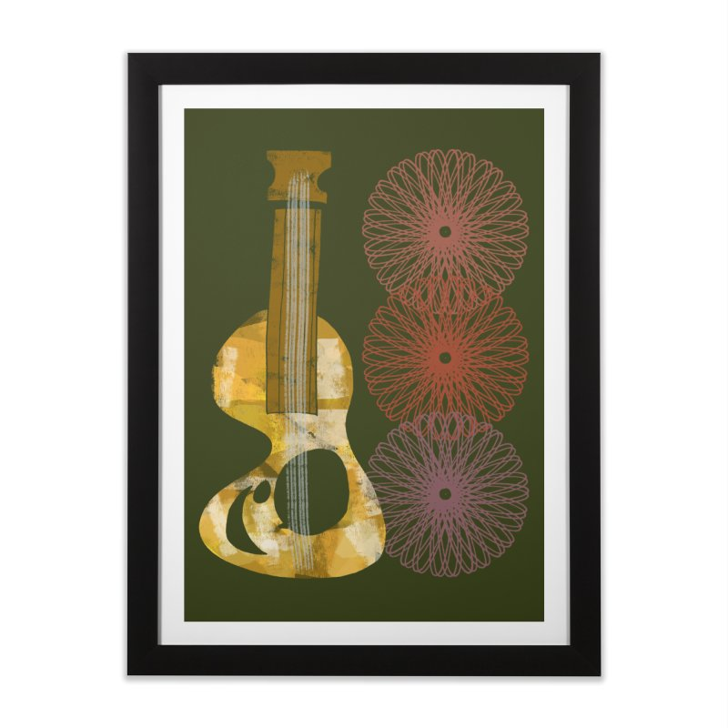 Guitar and a Spirograph Home Framed Fine Art Print by Eyeball Girl Creative