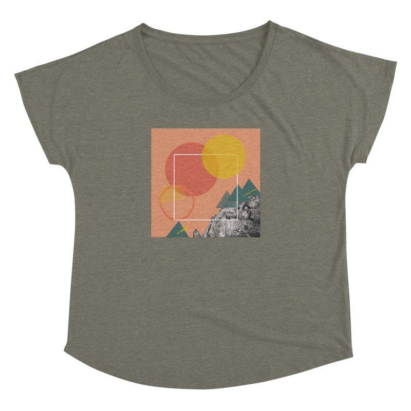 Mountain Range on Fire Women's Dolman Scoop Neck by Eyeball Girl Creative