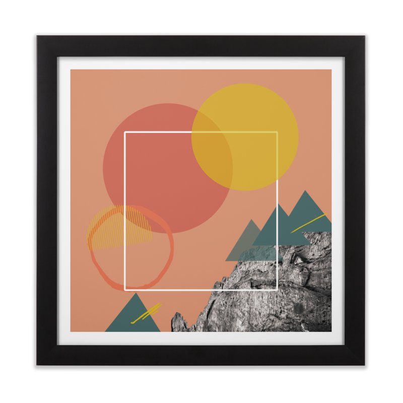 Mountain Range on Fire Home Framed Fine Art Print by Eyeball Girl Creative