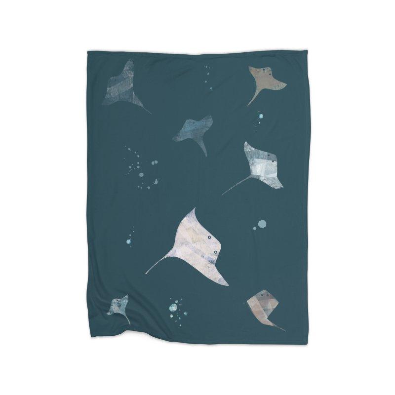 Sting//Ray Home Fleece Blanket Blanket by Eyeball Girl Creative