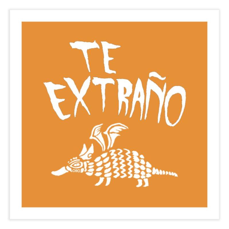 Te Extraño Armadillo (white) Home Fine Art Print by Threads by @eyedraugh