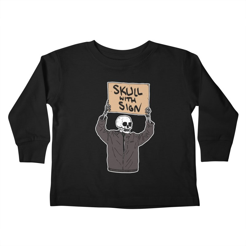 Skull with Sign Kids Toddler Longsleeve T-Shirt by Threads by @eyedraugh