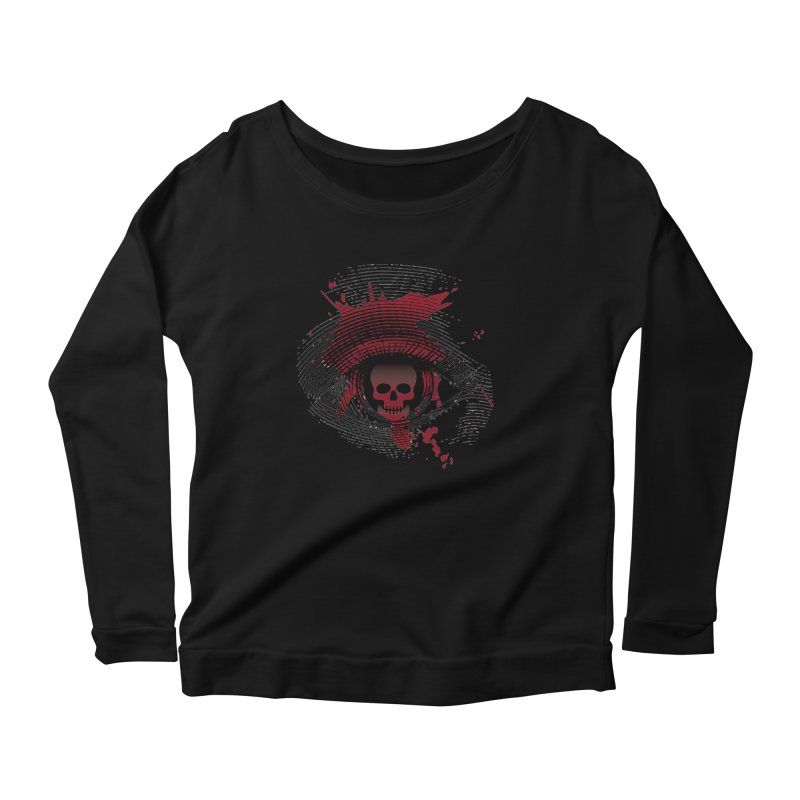Isolated Blood Shot Eye for an Eye Logo Women's Scoop Neck Longsleeve T-Shirt by Eye for an Eye Merch Shop