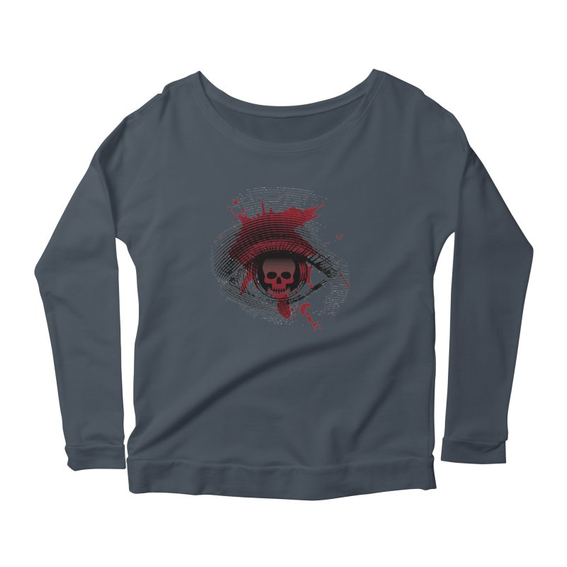 Isolated Blood Shot Eye for an Eye Logo Women's Scoop Neck Longsleeve T-Shirt by Eye for an Eye Merch Shop