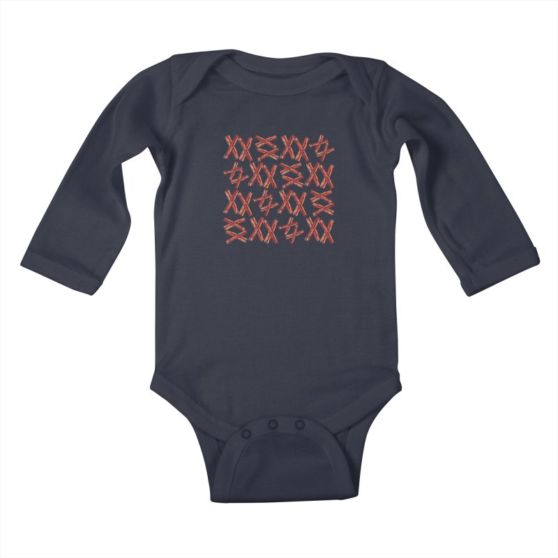 Bacon Heaven Kids Baby Longsleeve Bodysuit by ezCREATtire - Bulk up on Good Gear