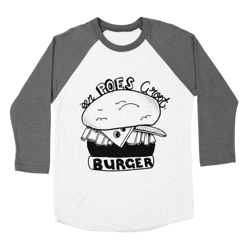 poes burger Men's Baseball Triblend T-Shirt by ezlaurent's Artist Shop