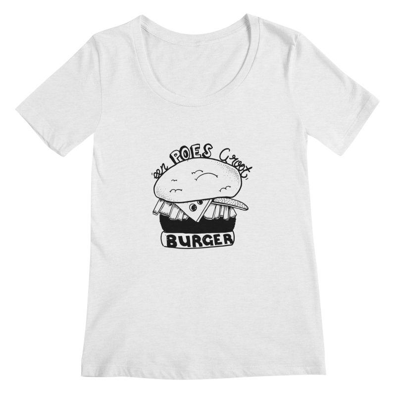 poes burger Women's Scoopneck by ezlaurent's Artist Shop