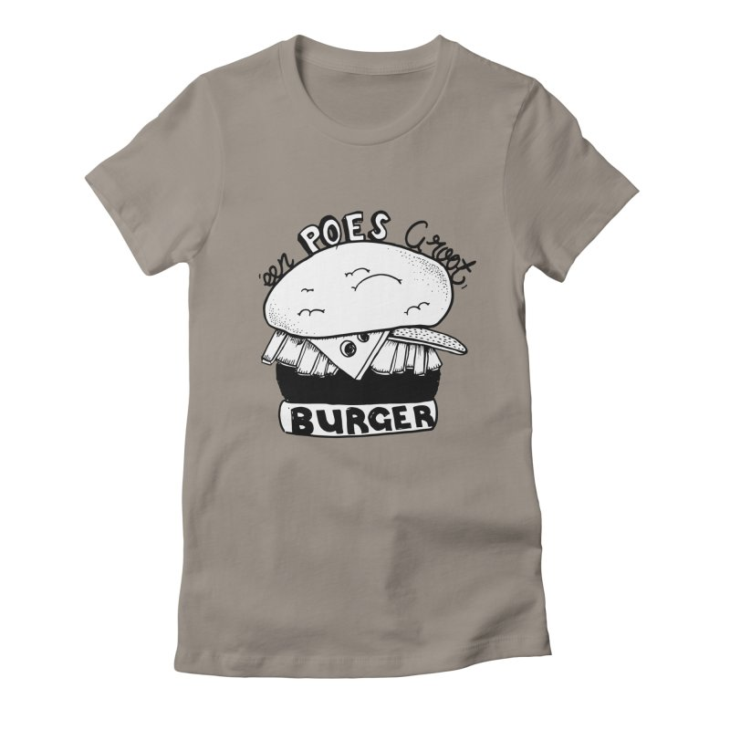 poes burger Women's Fitted T-Shirt by ezlaurent's Artist Shop