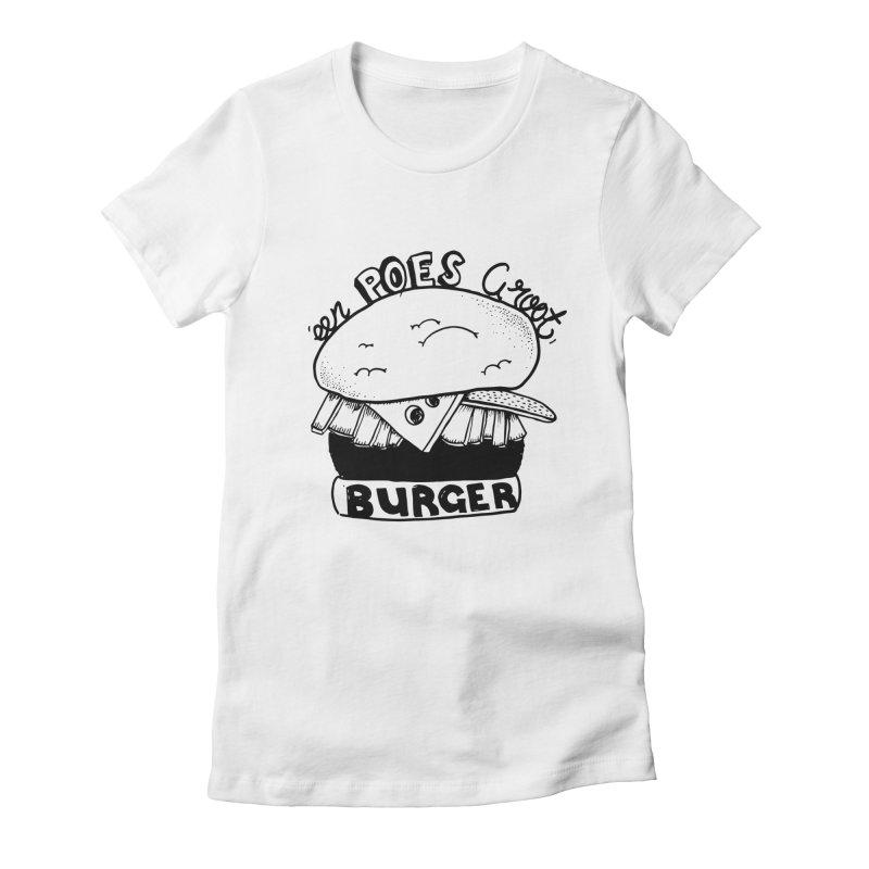 poes burger Women's Fitted T-Shirt by ezlaurent's Artist Shop