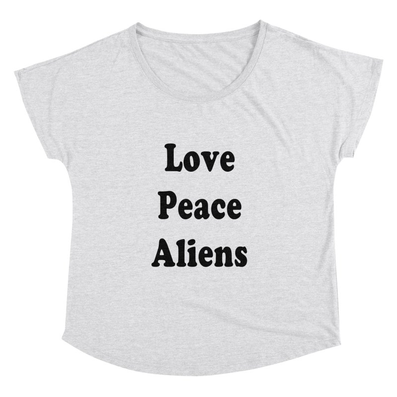 LOVE, PEACE, ALIENS Women's Scoop Neck by ezo's Artist Shop
