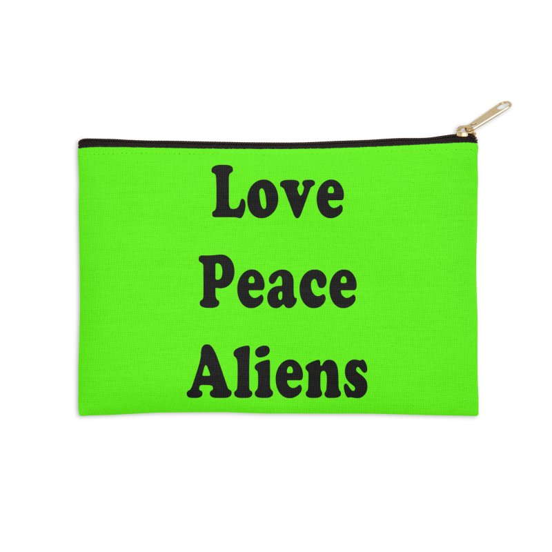 LOVE, PEACE, ALIENS Accessories Zip Pouch by ezo's Artist Shop