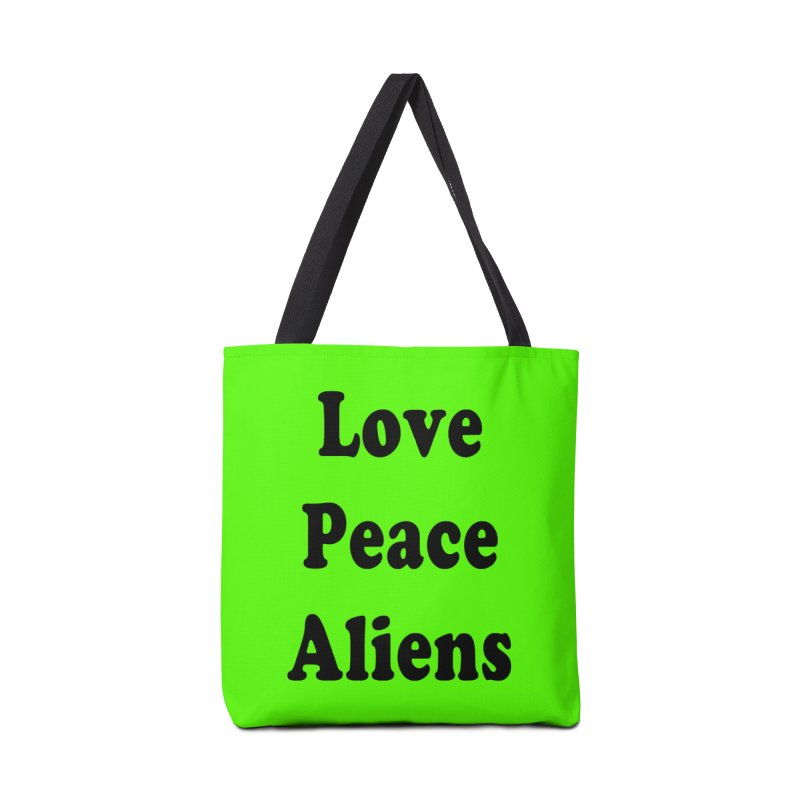 LOVE, PEACE, ALIENS Accessories Bag by ezo's Artist Shop