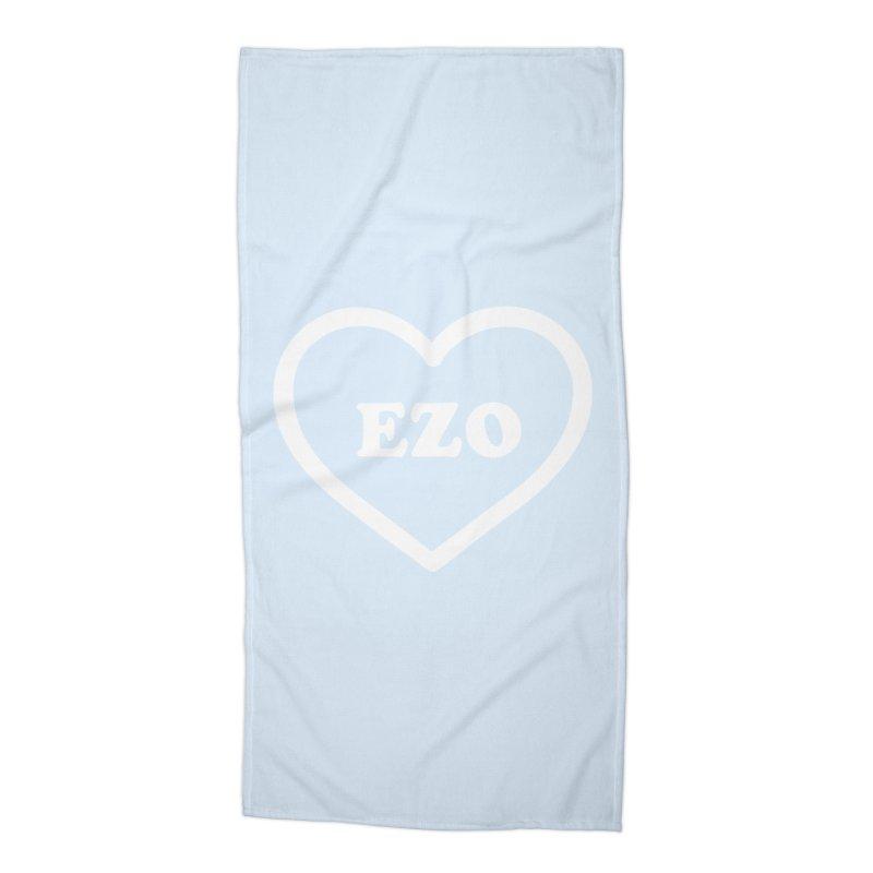EZO HEART (pastel blue) Accessories Beach Towel by ezo's Artist Shop