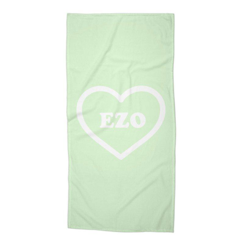 EZO HEART (pastel green) Accessories Beach Towel by ezo's Artist Shop