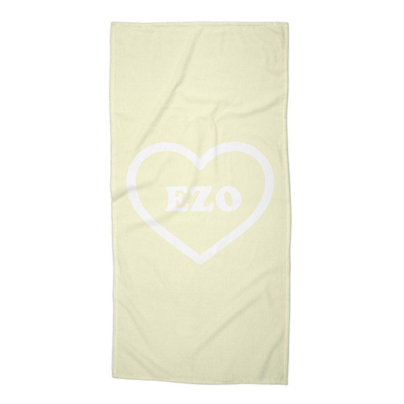 EZO HEART (pastel yellow) Accessories Beach Towel by ezo's Artist Shop