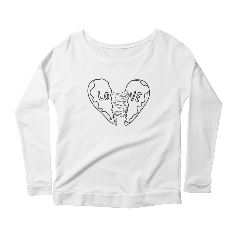 Heart Broken Donut Women's Longsleeve Scoopneck  by ezo's Artist Shop