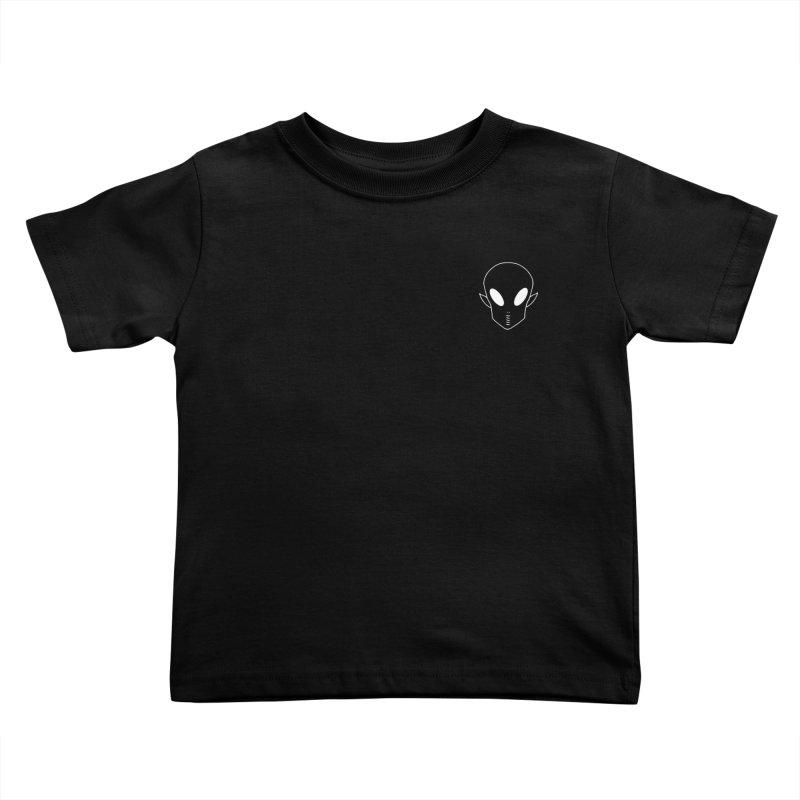 EZO Alien Wannabe Patch - White Outline Kids Toddler T-Shirt by ezo's Artist Shop