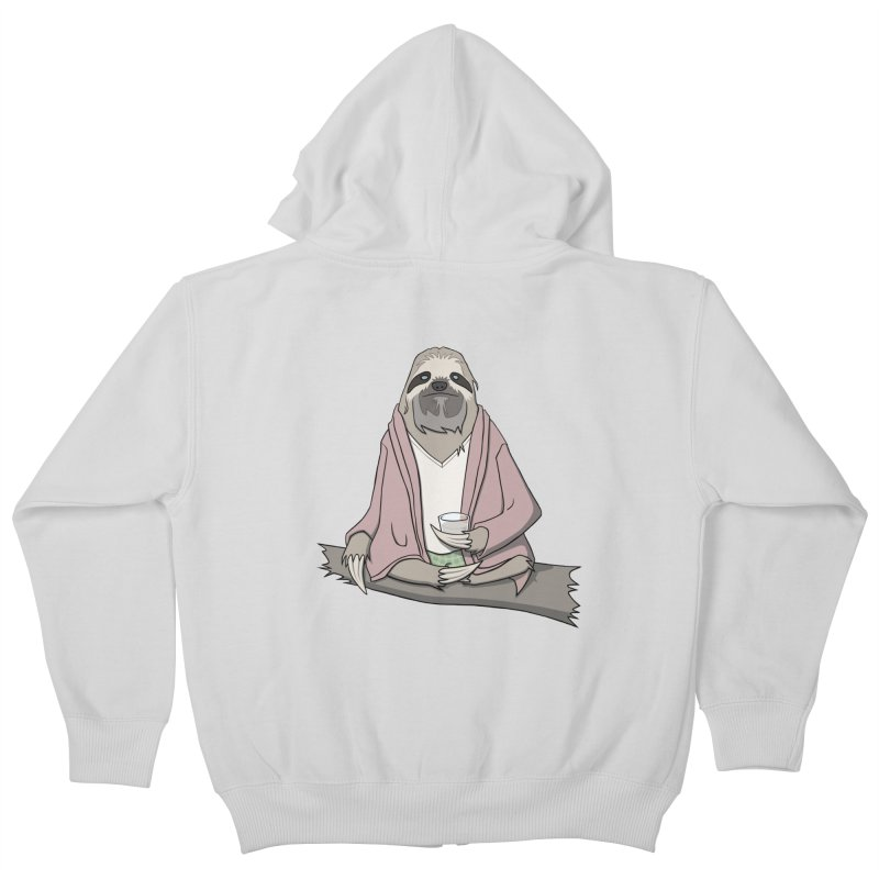 The Sloth Abides Kids Zip-Up Hoody by facebunnies's Artist Shop