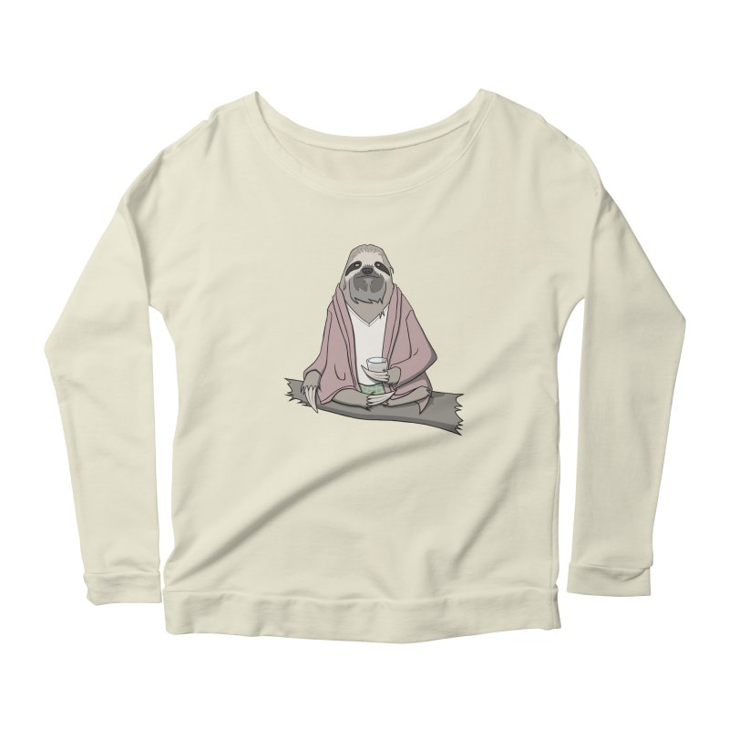 The Sloth Abides Women's Longsleeve Scoopneck  by facebunnies's Artist Shop
