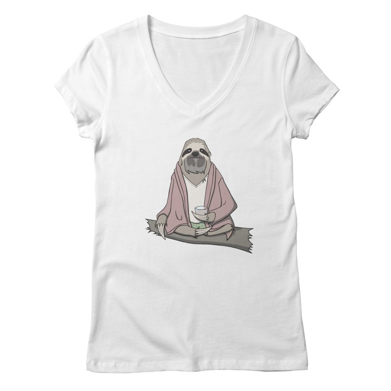 The Sloth Abides Women's V-Neck by facebunnies's Artist Shop