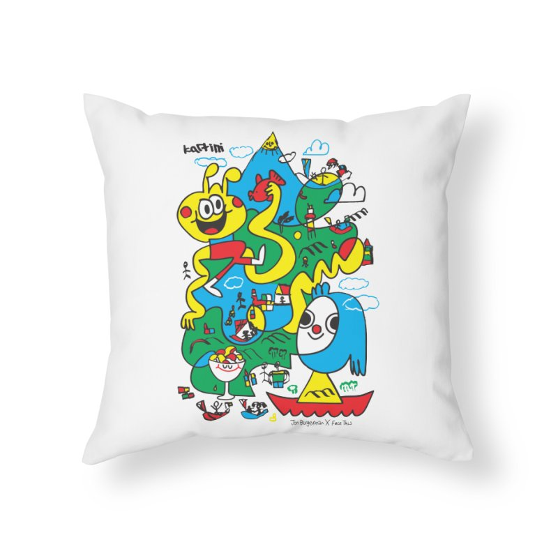 Jon Burgerman x Kartini x Face This T-shirt Home Throw Pillow by Face This T-shirts