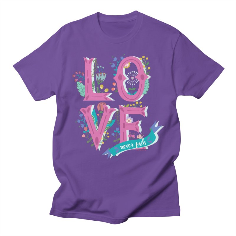 Love Never Fails  Men's T-shirt by Faith Designs's Artist Shop