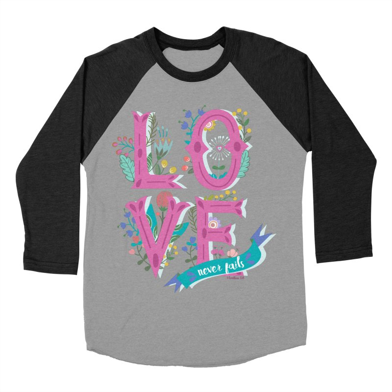 Love Never Fails  Men's Baseball Triblend T-Shirt by Faith Designs's Artist Shop