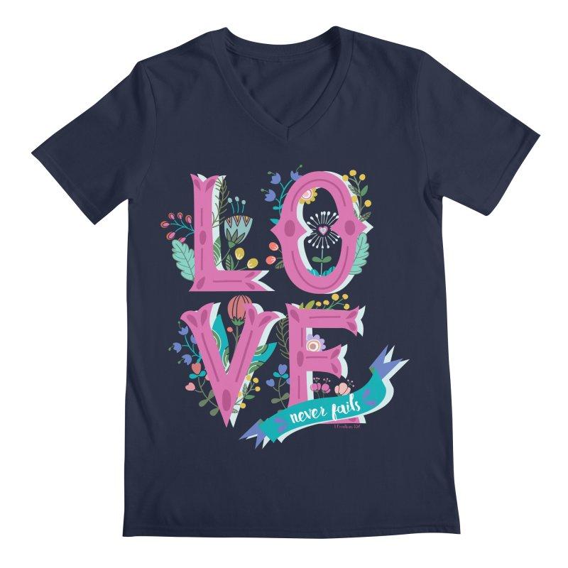 Love Never Fails  Men's V-Neck by Faith Designs's Artist Shop