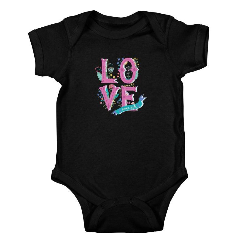 Love Never Fails  Kids Baby Bodysuit by Faith Designs's Artist Shop